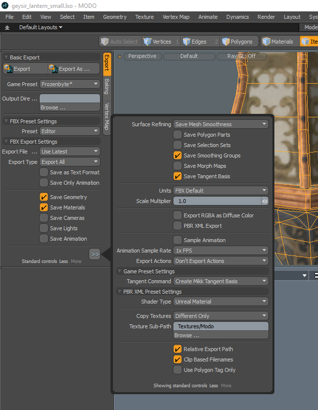 FBX export settings for Editor